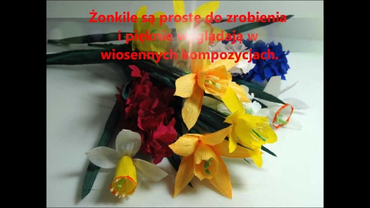 Kwiaty z bibuły ŻONKIL krok po kroku. How to make a paper flower - Daffodil. DIY