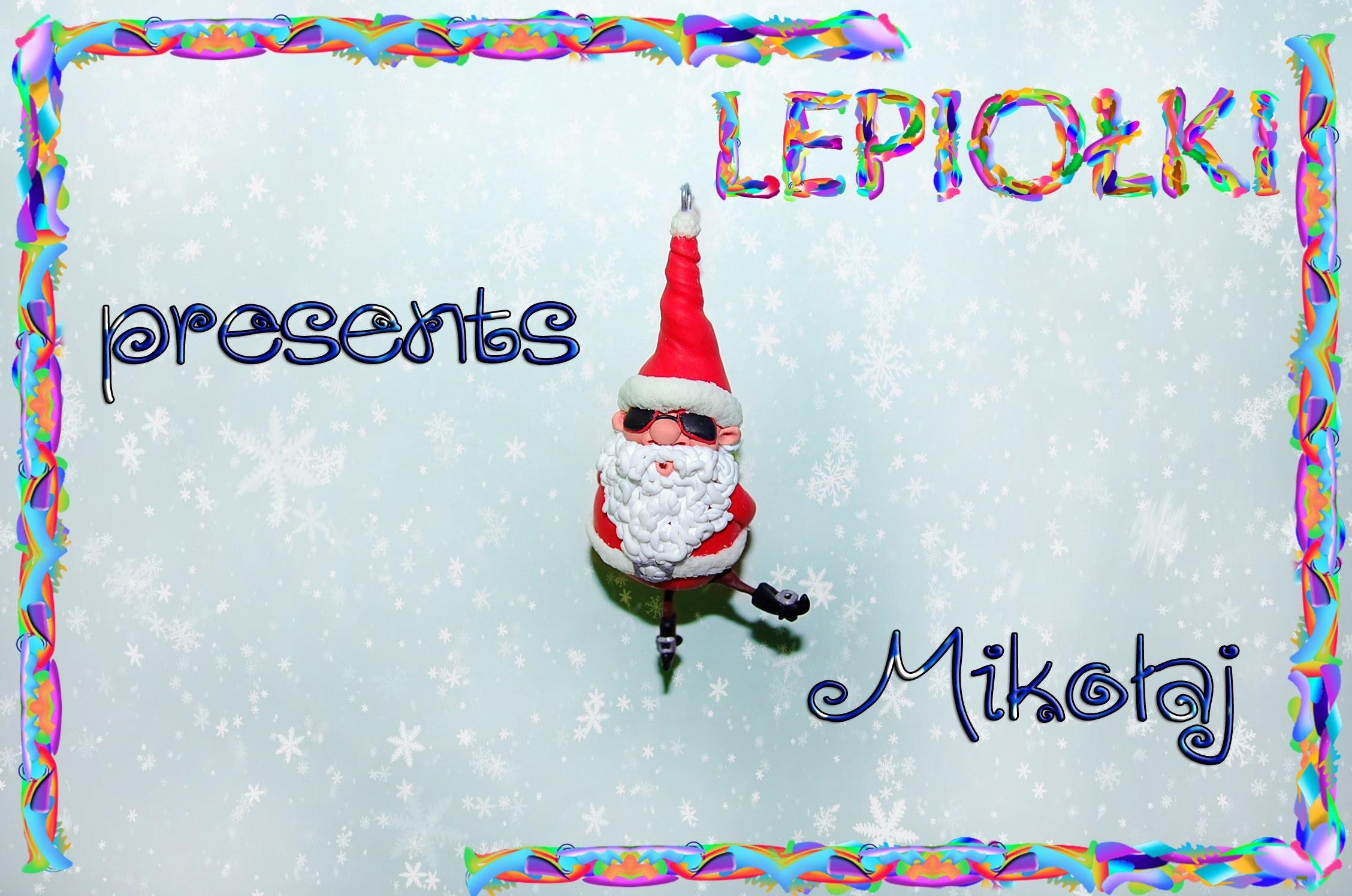 Mikołaj w okularach TUTORIAL Santa Claus with glasses polymer clay made hand, Lepiołki