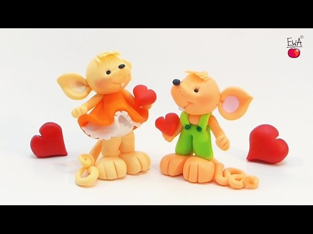 ♡ MOUSE in love ♡  MYSZKA z modeliny - polymer clay tutorial