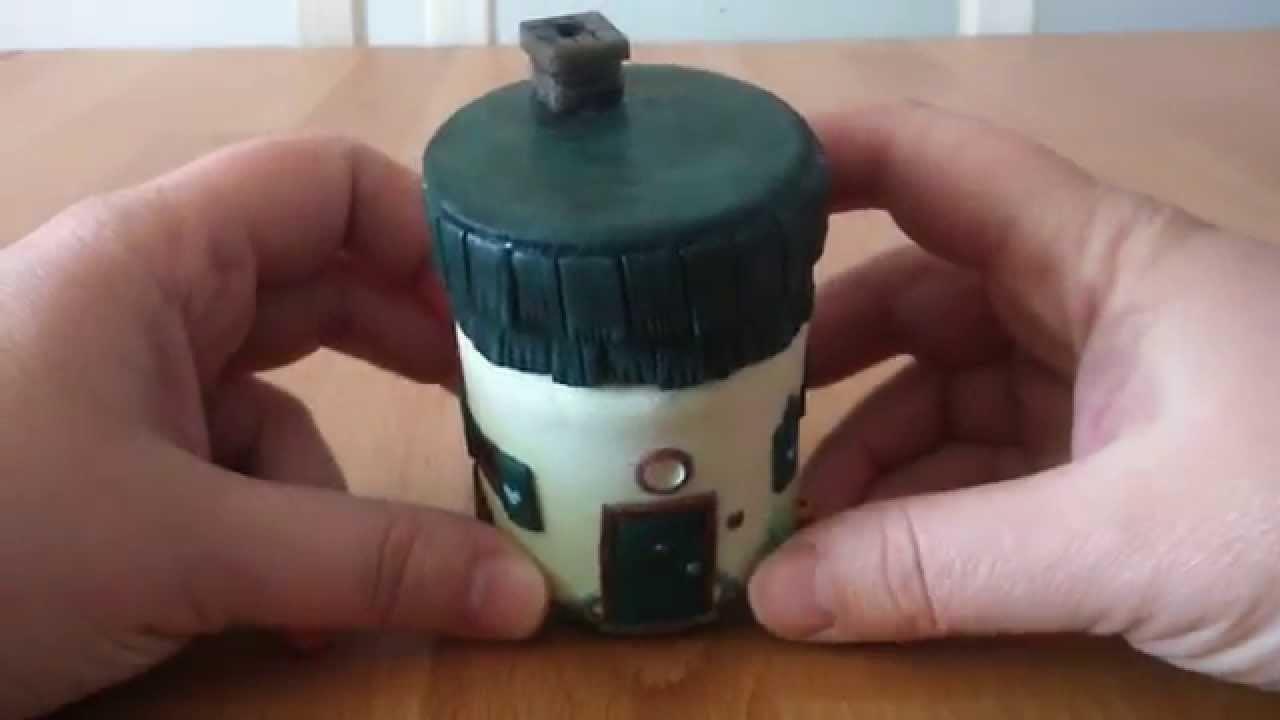 Polymer clay house.  Domek słoik , recykling
