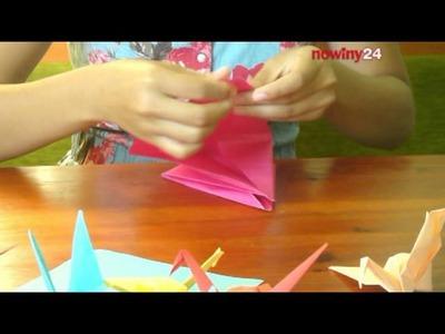 """Żuraw origami """"na szczęście"""". Krok po kroku"""