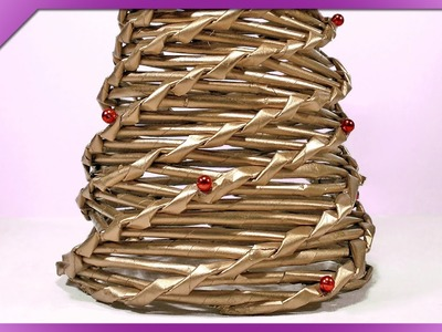 DIY Choinka z papierowej wikliny. Paper wicker Christmas tree (+ENG Annotations) - Na szybko #44