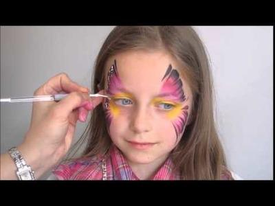 Malowanie buziek twarzy Motyl. Butterfly Face Painting Design Tutorial #1