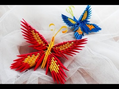 Origami motyl krok po kroku. how to make a origami butterfly tutorial 3D
