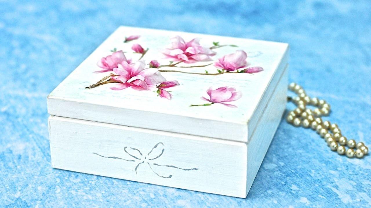 Decoupage 3D  z folią sospeso -  magnolie - tutorial DIY