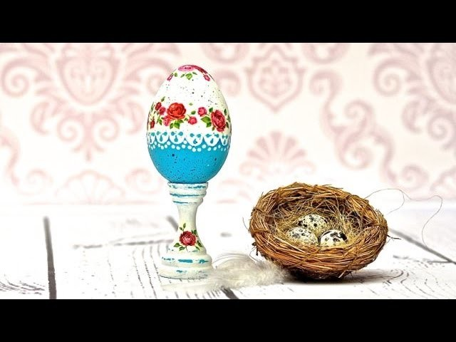 Decoupage   turkusowa pisanka -  DIY tutorial