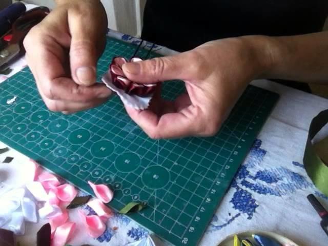 DIY Tutorial Handarbeit Haarklamer*Haarnadel mit Kanzashi Blumen* Klamra do włosów