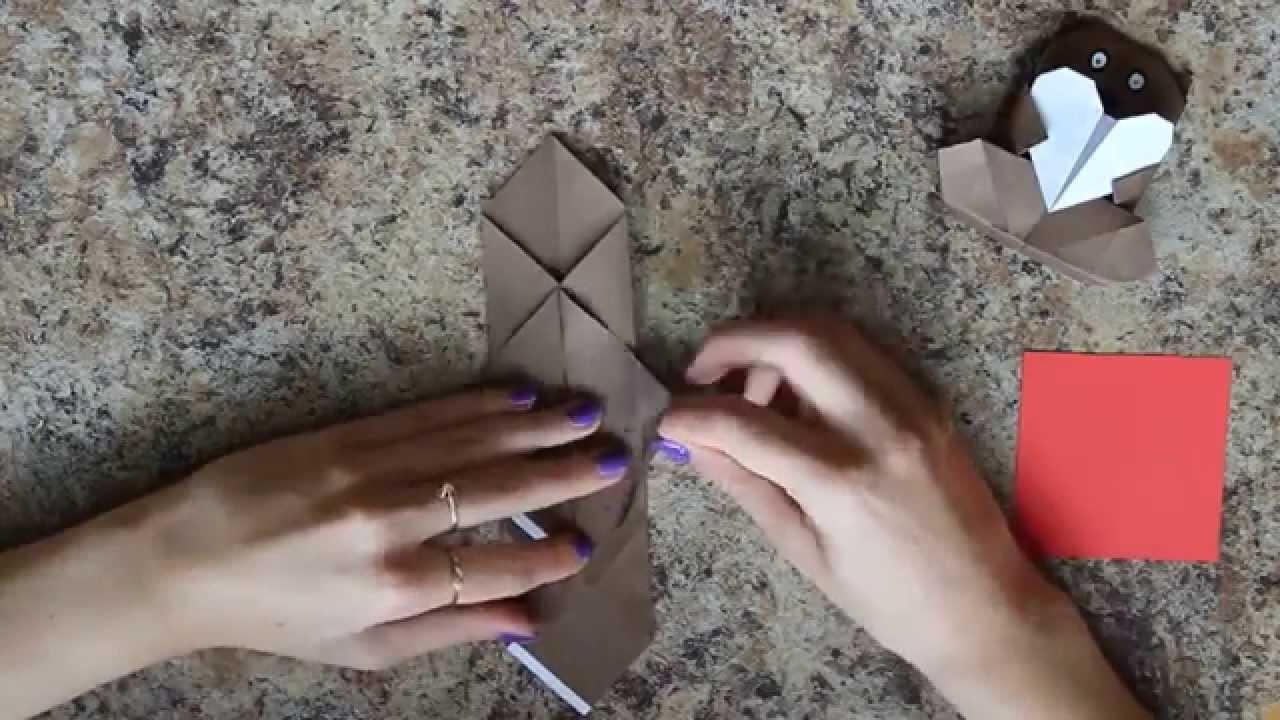 Origami: Miś trzymający serce #4