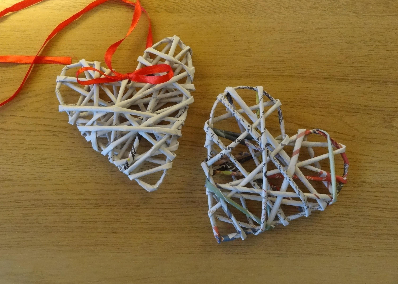 Papierowa wiklina - serce (wicker paper)