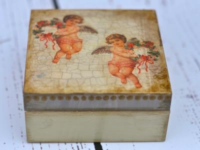 Decoupage krok po kroku - świąteczne pudełeczko z aniołkiem
