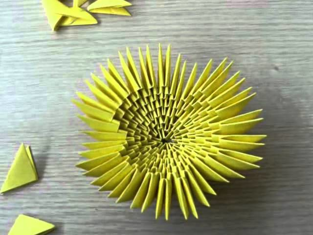 3D origami - flower - yellow tulip with leaf - (how to make)