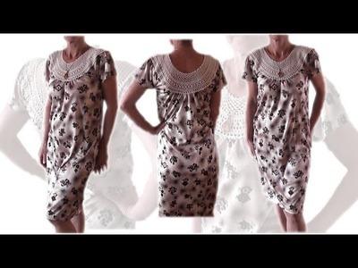 Karczek, dekolt na szydełku do sukienki, bluzki  - po polsku