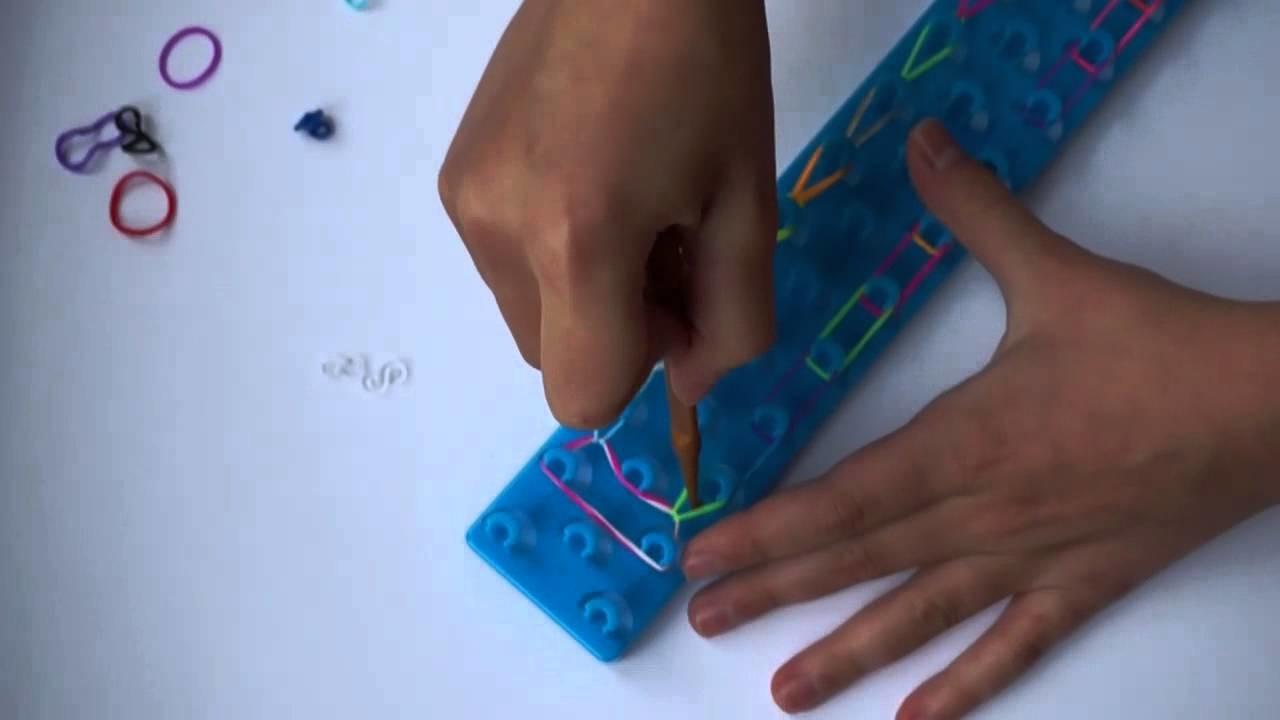 Jak zrobić bransoletkę z gumek (rainbow loom )? Wzór podwójna nie łączona.