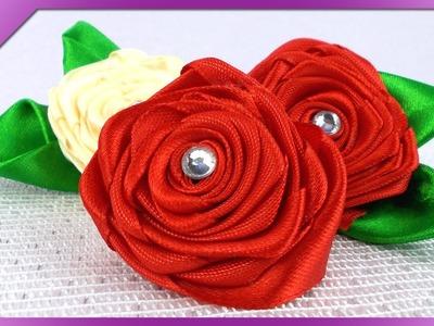 DIY Róże ze wstążki. Ribbon roses (+ENG Annotations) - Na szybko #85