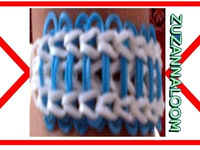 Instrukcja po polsku jak zrobić bransoletkę z gumek wzór z paskami