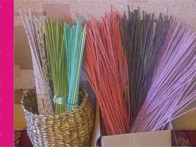 Jak malować rurki z papierowej wikliny? [how to paint wicker paper tubes?] (Claoodia Art)