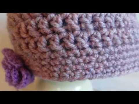 Czapka na szydełku z kwiatkiem.simple crochet beanie. hat. cap. szydełkowa czapeczka