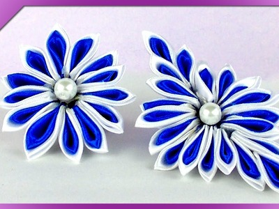 DIY Kwiatek kanzashi. Kanzashi flower (+ENG Subtitles) - Na szybko #122