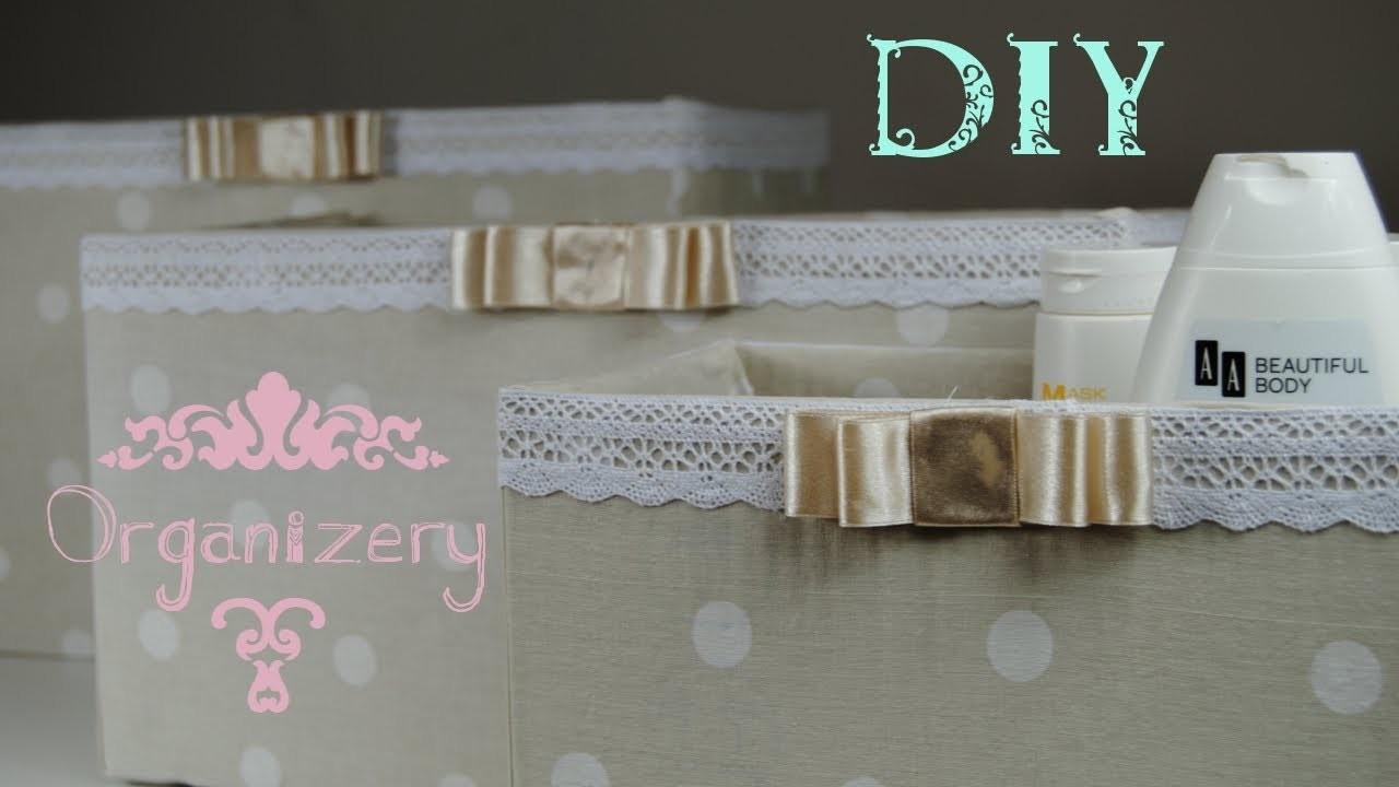 DIY organizery pudełka z tkaniny