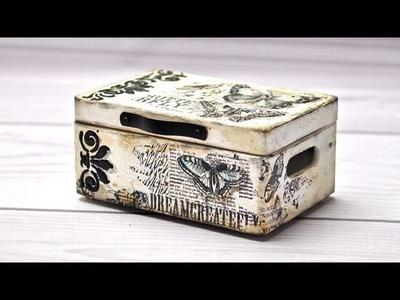 Mixmedia Stara skrzynia z motylami - tutorial DIY