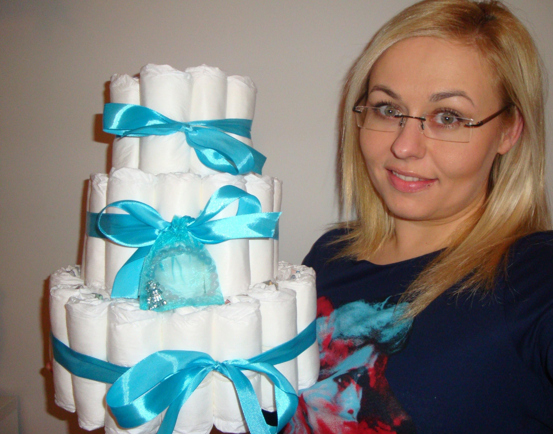 DIY: TORT Z PIELUSZEK How to Make a Baby Diaper Cake! [OnTheLineWithAlex]