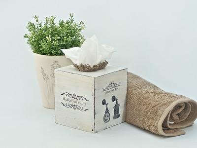 Decoupage krok po kroku  - chustecznik do łazienki