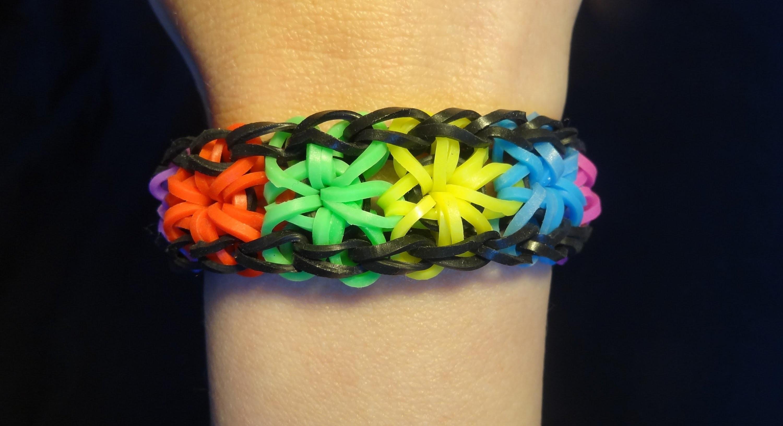 Starburst Bracelet - Rainbow Loom, Bransoletka z gumek, Loom Bands