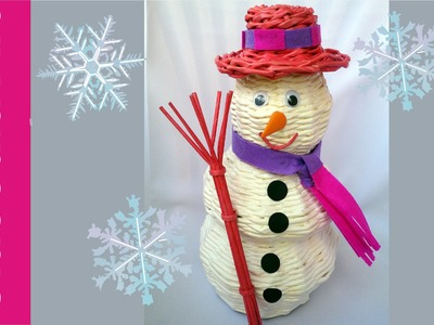 Bałwan z papierowej wikliny, krok po kroku [snowmen paper wicker]