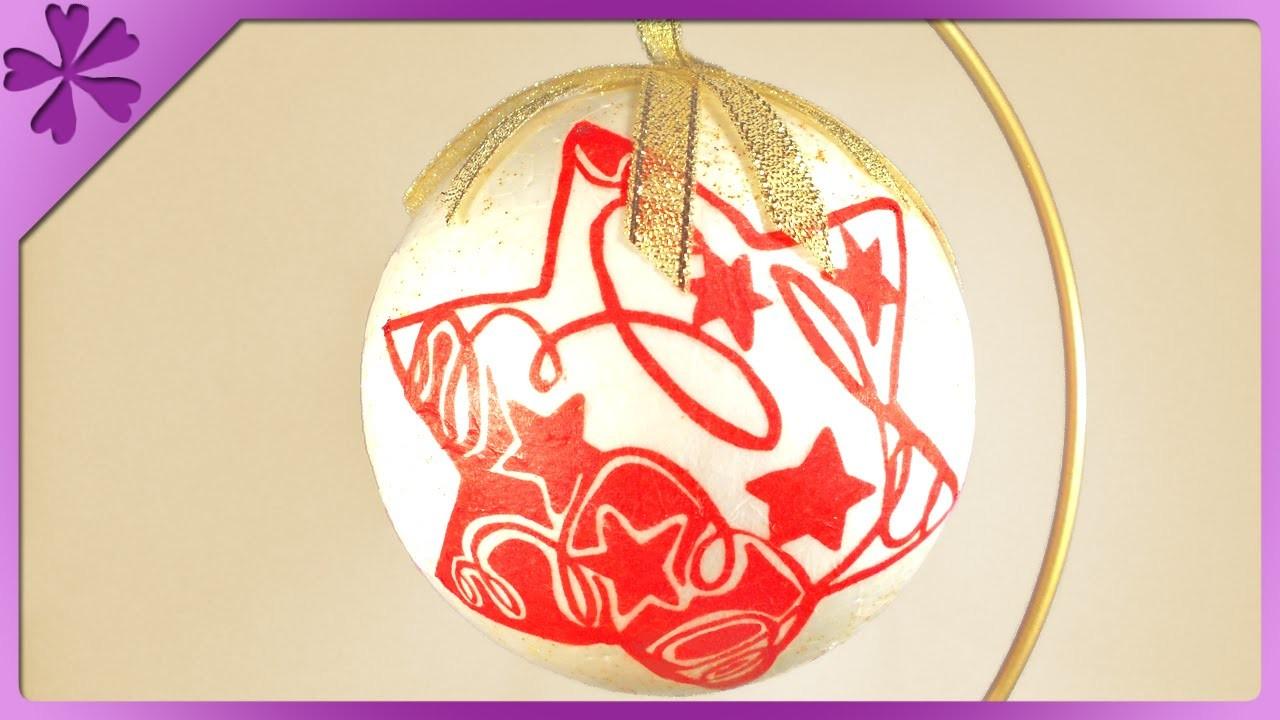 DIY Bombka dekupaż. Decoupage Christmas ball (+ENG Annotations) - Na szybko #43
