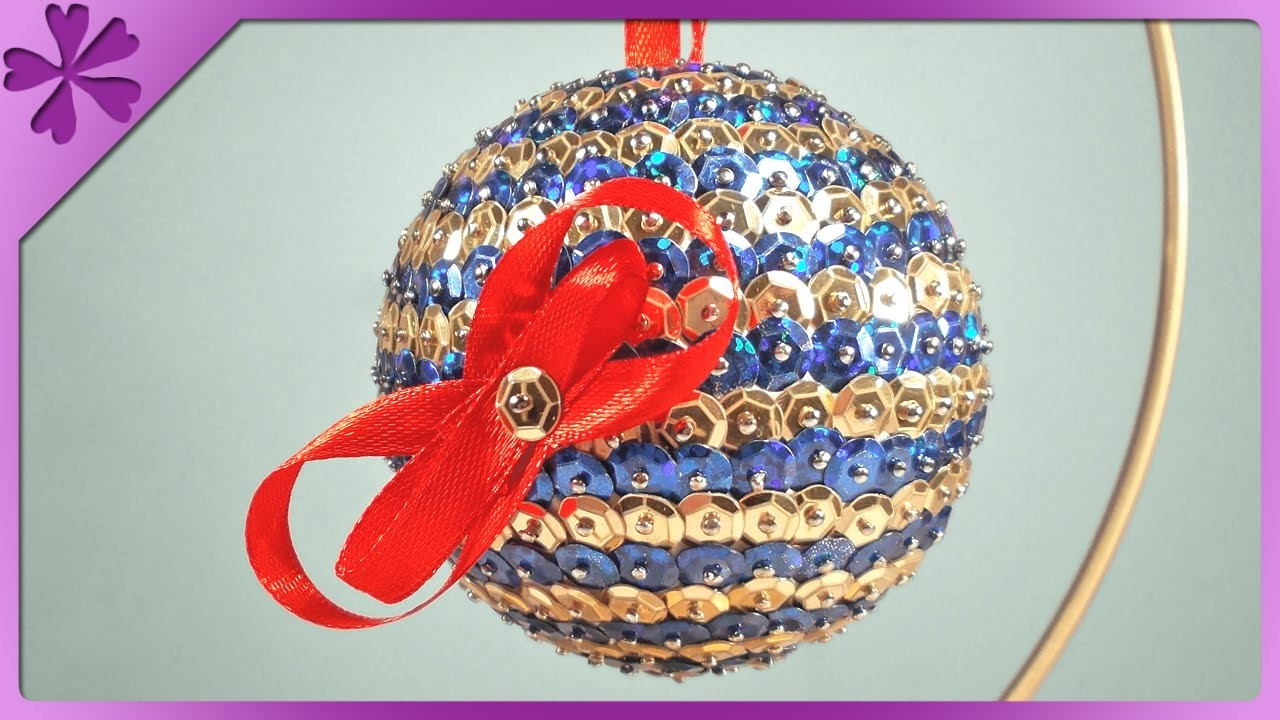 DIY Bombka z cekinów. Sequins Christmas ball (+ENG Annotations) - Na szybko #49