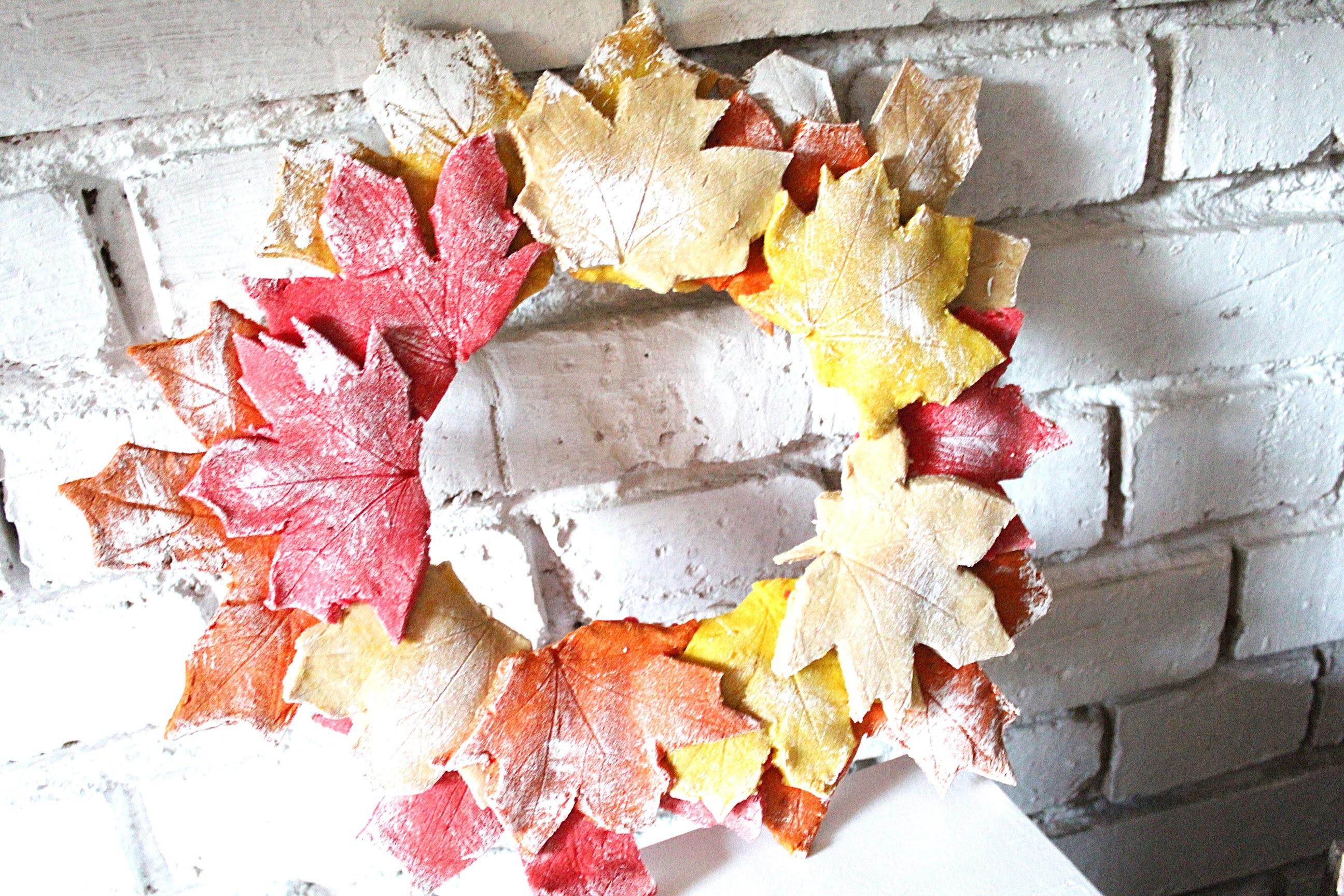 Jesienny wianek z liści z masy solnej. Autumn wreath DIY