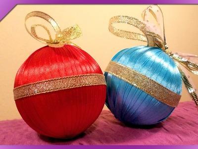 DIY Bombki ze wstążki. Ribbon Christmas balls (+ENG Annotations) - Na szybko #33