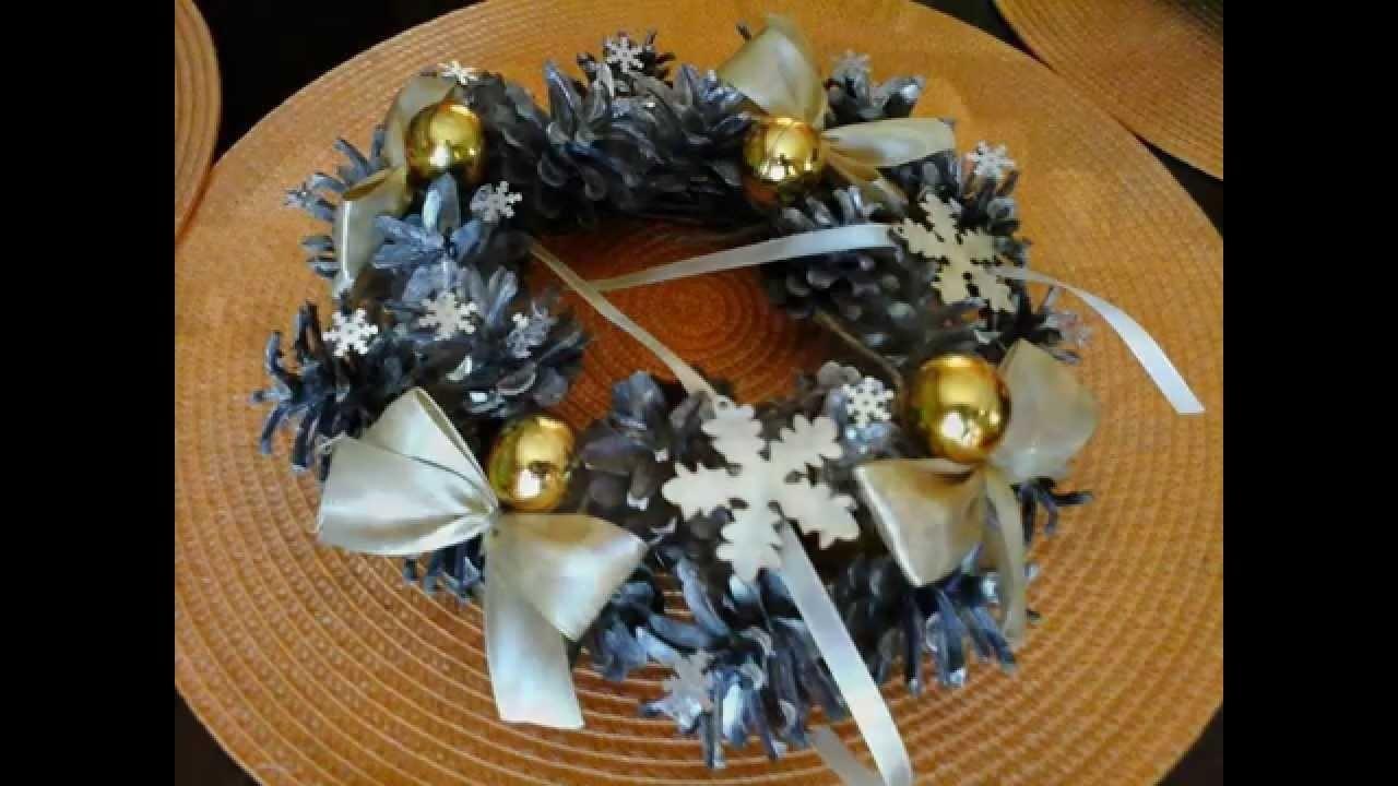 DIY jak zrobić  dekoracje na Boże Narodzenie. Wianki z szyszek ozdoby, stroki,