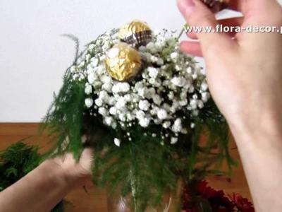 Jak zrobić bukiet z kwiatów i cukierków Ferrero Rocher