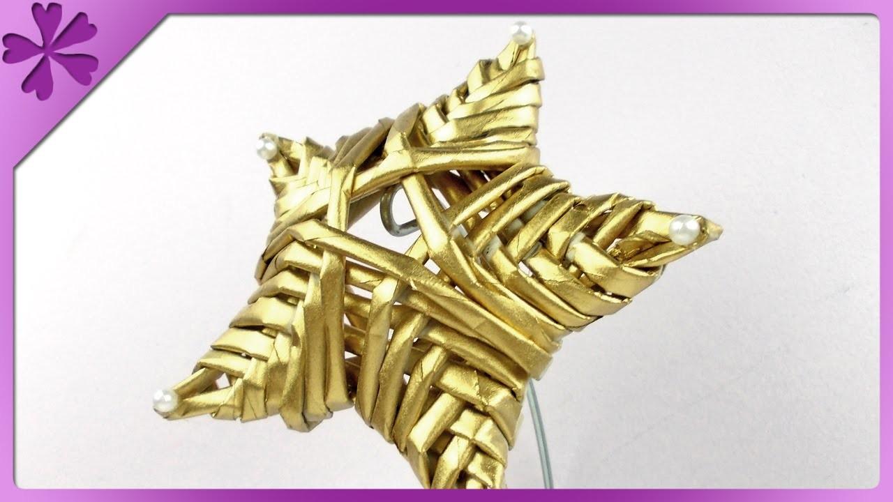 DIY Gwiazda z papierowej wikliny. Paper wicker star (+ENG Subtitles) - Na szybko #148