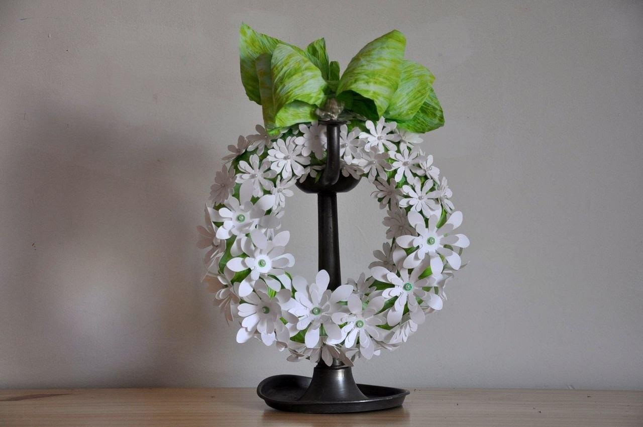 Wianek z papierowych kwiatków   krok po kroku# Wreath of paper flowers DIY