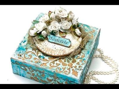MixMedia kwiatowe pudełko -  tutorial DIY
