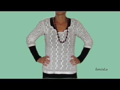 Sweterek na szydełku z łatwymi do zrobienia rękawkami.