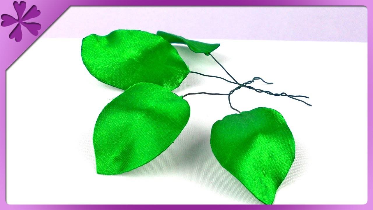 DIY Liście z tasiemki. Ribbon leaves (+ENG Subtitles) - Na szybko #140
