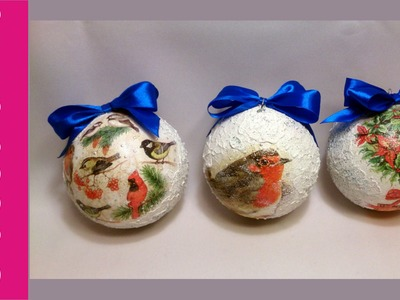 Bombka decoupage, pasta śniegowa (Bauble, snow effect)