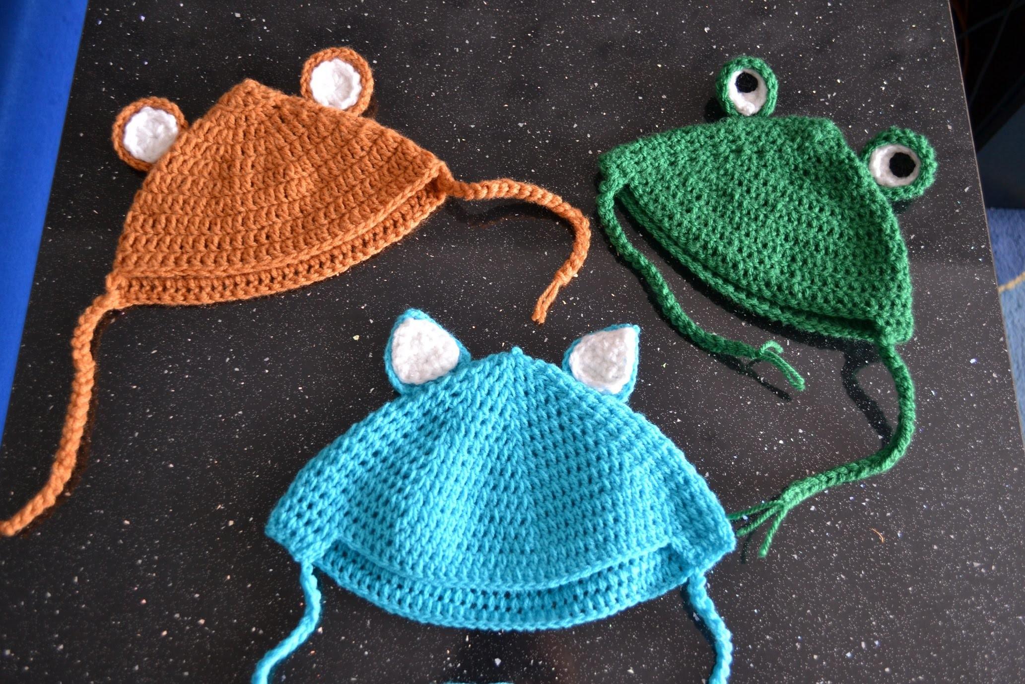 Czapka na szydełku dla dziecka kot I żaba I miś crochet baby hat