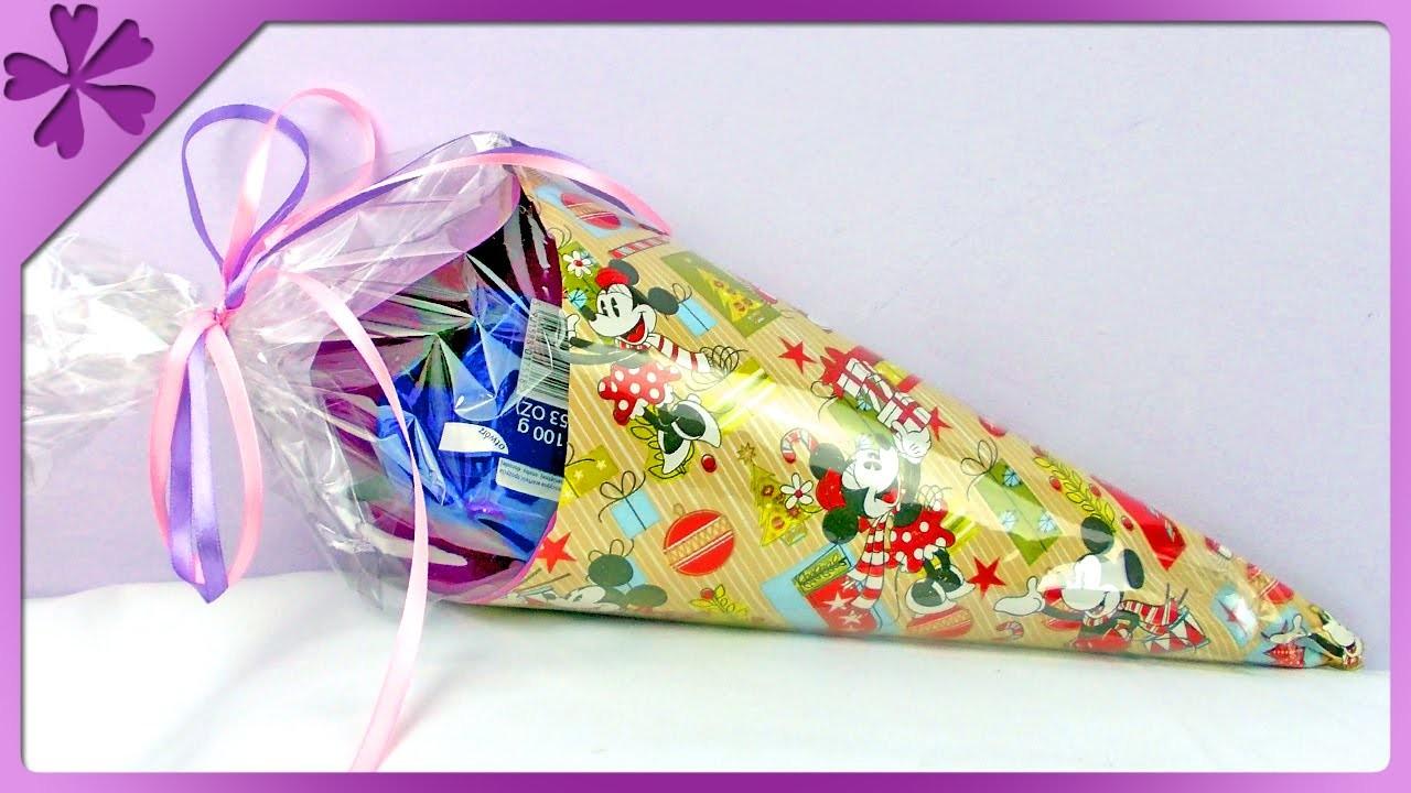 DIY Tyta, rożek ze słodyczami. Tüte, school candy cone (+ENG Subtitles) - Na szybko #123