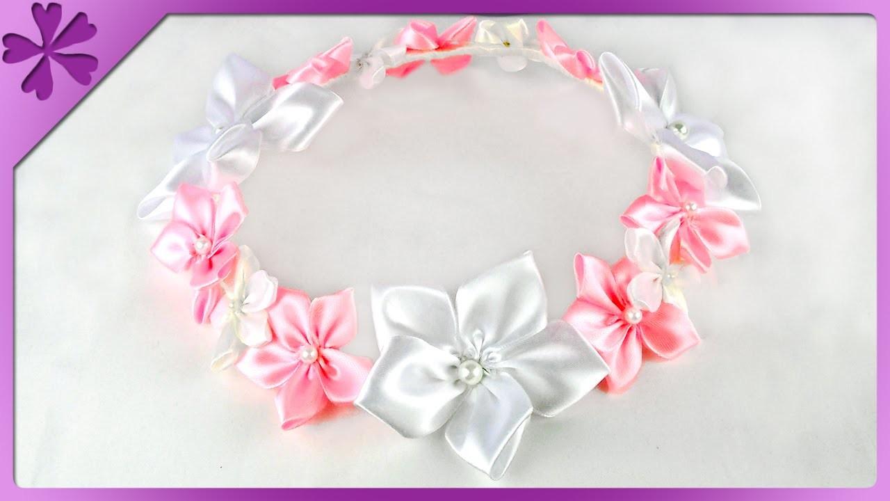 DIY Wianek z kwiatków kanzashi. Kanzashi flower head wreath (+ENG Subtitles) - Na szybko #120
