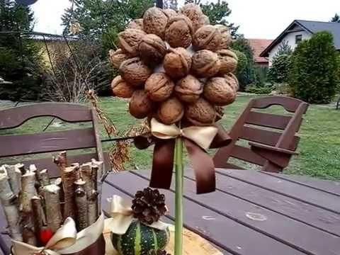 Diy jesienne dekoracje z orzechów i szyszek