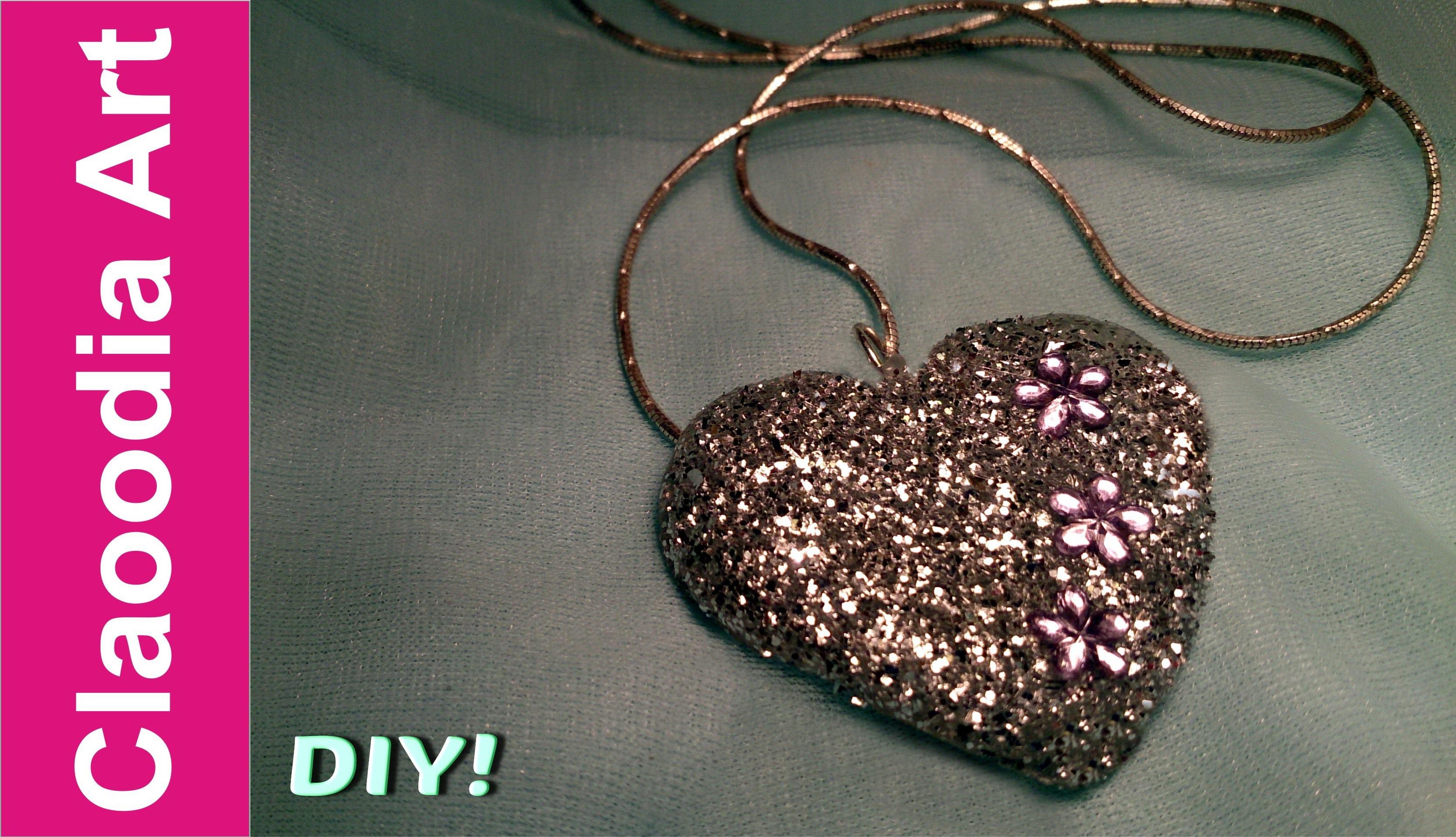 Zawieszka brokatowa serce (DIY, hot glue, glitter)