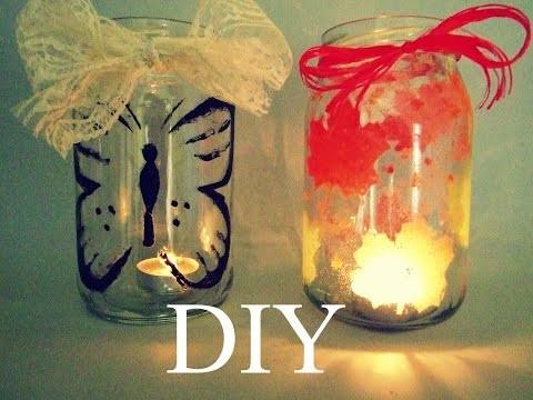 DIY jar lanterns. świeczniki