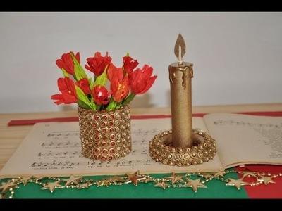 Podstawka i świeca -  dekoracje z tektury i makaronu DIY