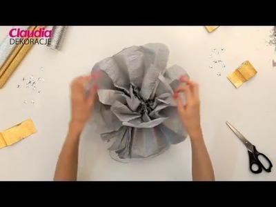 Dekoracje sylwestrowe DIY - pompon z krepiny