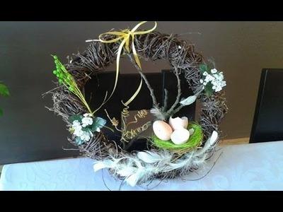 DIY jak zrobić wianek na Wielkanoc, wiosenne dekoracje ,Easter decoration