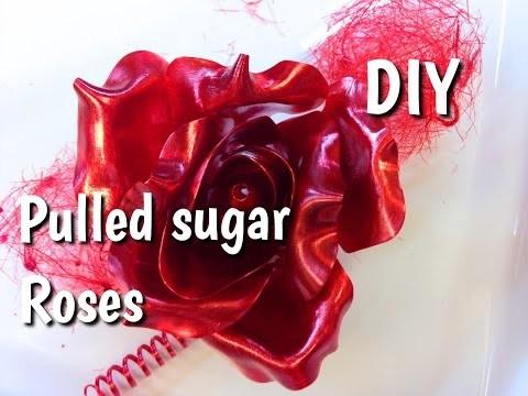 Czerwona róża z karmelu | Pulled sugar Roses DIY